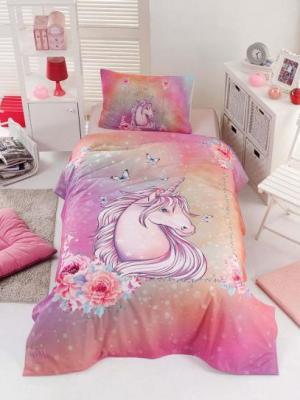 Σετ κουβερλί μονό Unicorn Art 6114 160x240 Ροζ Beauty Home